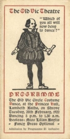 Dance card for the third Old Vic Circle Costume Dance, 18 February 1922. These annual fund-raising balls continued until the outbreak of war, the later ones being at the Royal Opera House.
