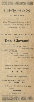 Advertisement of future opera performances from a programme for King Richard the Second, for November 1916.