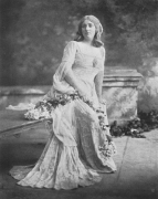 Mary Garden as Mélisande in Act 1, Scene 3. Photograph by Davis & Sanford Co, New York. Garden appeared in the American premiere at the Manhattan Opera House on 19 February 1908. Copies of all the original sets and costumes were used for this production which featured most of the first Paris cast.