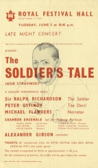Flyer for a concert performance at the Royal Festival Hall, London, 5 June 1956. Philip Jones replaced Harold Jackson as trumpeter at this performance. Michael Flanders's translation, probably heard here for the first time, has since become the standard English text.
