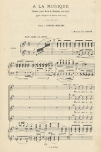 Chabrier: Ode à la Musique, composed to a text commissioned from Rostand in 1890. Published in 1891, the opening is shown here in a reprint in Chabrier's Recueil des Mélodies (Paris, 1904).