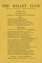 The Ballet Club.  A programme from 1933 showing the ballets performed since 1930, in a number of which Mona appeared.