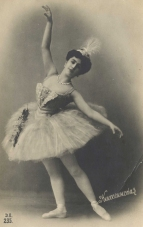 Mathilde Kschessinskaya  (Princess Romanovskaya-Krasinskaya) (1872-1971) was prima ballerina assoluta of the Imperial Ballet at the Mariinsky Theatre, St Petersburg.