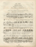 Louis Niedermeyer: Le Lac (Paris, [1821?]). Probable first edition of the song usually seen as the historic turning-point between the simple romance française and the mature romantic mélodie. The text is from Lamartine's Méditations Poétiques, published in March 1820.