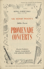 Prospectus for the fiftieth anniversary season of  Promenade Concerts (Sir Henry Wood's Jubilee Season), 1944. Beginning on Saturday, 10 June, in a London beset by flying bombs, the concerts in the Royal Albert Hall continued only to Thursday, 29 June. Of the remaining concerts those already booked for broadcast were relayed from studio performances in Bedford, including that on Thursday, 13 July in which Wood conducted the first English performance of Shostakovich's Eighth Symphony. His last Prom on 28 July included an outstanding performance of Beethoven's Seventh. He died in Hitchin Hospital less than three weeks later.