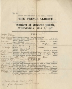 The concert on 5 May 1847 included Mendelssohn's last public performance anywhere: he played Bach's Prelude and Fugue on B A C H. The following day he transcribed a Song without Words for the Queen and the Prince (the eighth 4-hands transcription he had made for them) and delivered the manuscript to Buckingham Palace just before leaving England for the last time.