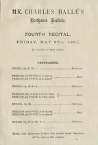 Programme for a Beethoven recital by Hallé, St. James's Hall, London, 27 May 1881.
