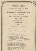 Programme showing Part I of a charity concert at Grosvenor House, Park Lane, London, 9 July 1855.  Hallé's distinguished partners in the Mayseder Trio were his regular chamber collaborators at this period.