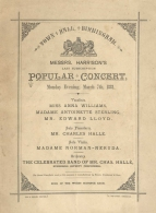 Programme for a Popular Concert at the Town Hall, Birmingham, 7 March 1881. Hallé appeared as soloist and conductor.