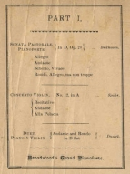Programme at the New Town Hall, 17 March 1888.  Dvorak's Violin Sonata is shown as composed by Doorah!