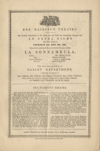 Announcement of the first performance of La Sonnambula in the current season at Her Majesty's Theatre on 13 May 1847.