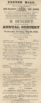 Flyer for Mr Benedict's Annual Concert, Exeter Hall, 21 May 1856.
