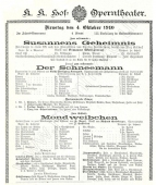 Poster for the stage première of Der Schneemann, Oct 4 1910. The Brendan G Carroll Collection