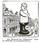 The composer caricatured as a huge snowman outside the Vienna Opera House.  This appeared in the Neues Wiener Tagblatt during the week of the stage première. The Brendan G Carroll Collection