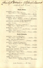 Programme for a concert at the home of the Dowager Lady Essex (the former soprano Catherine Stephens) , London, 1 July 1845.