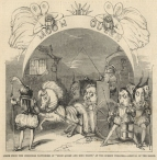 Scene from the Christmas Pantomime of Moon Queen and King Night, at the Surrey Theatre. - Arrival of the Baron, ILN, 1849.