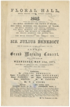 Programme of Sir Julius Benedict's benefit concert at the Floral Hall, Covent Garden, 31 May 1871.
