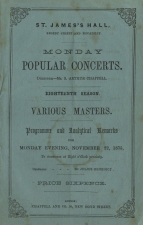 Programme of a Monday Popular Concert at St. James's Hall, 22 November 1875.
