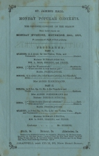 Programme of a Monday Popular Concert at St. James's Hall, 29 November 1875.