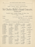 Programme of Sir Charles Hallé's last concert with the Hallé Orchestra, Free Trade Hall, Manchester, 7 March 1895. (From Batley: Sir Charles Hallé's Concerts in Manchester. Manchester, [1896].)
