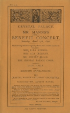 Programme of Sir August Manns's benefit concert at Crystal Palace, 25 April 1896.