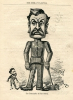The Ironmaster at the Savoy.  Caricature by Alfred Bryan from The Entr'acte Annual, 1885.  Gilbert controlled all aspects of his productions with rigorous discipline; the submissive figure on the left is Richard D'Oyly Carte.