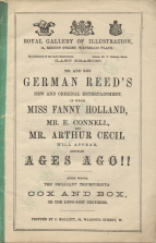 Programme for the first performance of Ages Ago!!, Royal Gallery of Illustration, 22 November 1869.