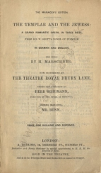 Libretto for a performance of Der Templer und die Jüdin at the Theatre Royal, Drury Lane, 1841.
