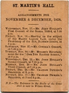 Ticket for St Martin's Hall, November-December 1858, including Dickens readings.