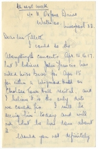 Letter to John Tillett, early August 1946.  Apparently written from Manchester, at the start of a tour of Britten's The Rape of Lucretia which had received its world premiere at Glyndebourne on July 12 with Ferrier as Lucretia. This was her first operatic role.