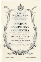 Programme for concert at the Royal Festival Hall, 6 April 1952. Bliss's The Enchantress had been written for Ferrier and first performed by her in a Manchester studio broadcast the previous October.