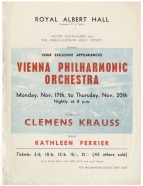 Flier for 4 concerts by the Vienna Philharmonic Orchestra at the Royal Albert Hall, 17-20 November 1952. Ferrier sang Mahler's Kindertotenlieder in the first concert.