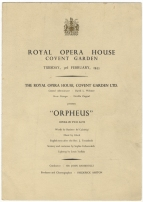 Programme for Orfeo, Royal Opera House, 3 February 1953. This production (sung in English) was mounted especially for Ferrier, who in the event was able to give only two performances - that on February 6 was her last ever public appearance.