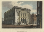 Exterior of New Drury Lane Theatre.  Engraving by Busby after Whichelo, 1 September 1813 for The Beauties of England and Wales.