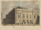 1812  Exterior (Plate I) from Historical and Descriptive Accounts of the Theatres of London, London, 1826 by Edward Wedlake Brayley.  Drawn and engraved by the late Daniel Havell.