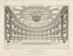 View from the Stage from Edifices of London - Theatres.  This and the following two engravings show the theatre after reconstruction by Samuel Beazley in 1822.  Engraving by J. Le Keux after T. Wyatt.
