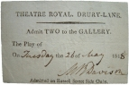 "Free pass dated 26 May 1818, signed by Mrs Maria Rebecca Davison, née Duncan (1780? - 1858), actress and vocalist. [On 31 October 1812 she married James Davison.]  ""She had a fine voice and a good knowledge of music, sang with much expression, and was in her day unequalled in such Scotch ballads as John Anderson and Roy's Wife. Her singing as the Marchioness Merida in the Travellers,  Drury Lane 13 May 1823, revealed powers almost fitting her for opera."" (DNB)"