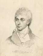 Robert William Elliston (1774-1831) actor and manager of Drury Lane.   Published by Richard Phillips, 1803. Elliston made his debut at Drury Lane on 20 September 1804. At the opening of the New Drury Lane Theatre, he spoke the address, written by Lord Byron, and then played the leading role in Hamlet.  In August 1819 he became Lessee of the Theatre and opened the first of seven seasons on 4 October.  In 1822 he spent £22,000 on remodelling the auditorium.  With his health failing and mounting debts, on 3 June 1826 he forfeited the lease and was declared bankrupt 10 December the same year.  He died in his house at Blackfriars 8 July 1831 aged 57.