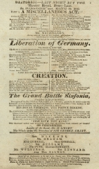 Playbill for the Oratorios, 20 March 1816.
