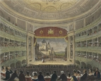 Auditorium showing on stage the Wrestling Scene in As You Like It. Engraving by T.H. Ellis after T. H. Shepherd, 1843.