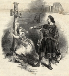 Lind and Staudigl in Act III, Scene 1. Engraving from The Illustrated London News, 8 May 1847.