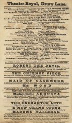 Playbill for Theatre Royal, Drury Lane, week commencing 15 April 1833. The first performance of Robert the Devil this season was on 8 April 1833.