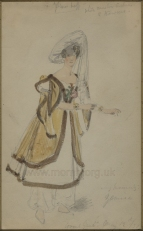 Miss Inverarity in her costume for the rôle of Zemira in Azor and Zemira at the Theatre Royal, Covent Garden.  Watercolour, artist unknown, dated 12 May 1831.