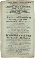 Playbill for a performance of Azor and Zemira at the Theatre Royal, Covent Garden, 7 April 1831 with Miss Inverarity as Zemira.
