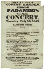 Bill for Signor Paganini's Second Concert at the Theatre Royal, Covent Garden, 10 July 1832.