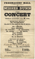 Bill for Misses Dunn's Annual Concert at the Freemasons Hall, London, 21 June 1831.