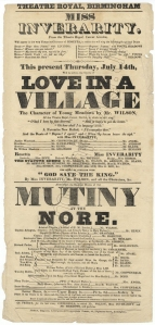Playbill for a performance of Love in a Village at the Theatre Royal, Birmingham, 14 July [1831] with Miss Inverarity as Rosetta.