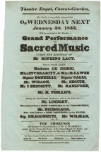 Concert bill for a Grand Performance of Sacred Music at the Theatre Royal, Covent Garden, 30 January 1833.