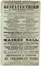 Bill for the first English performance of Gustavus the Third at the Theatre Royal, Covent Garden, 13 November 1833 with Miss Inverarity as Madame Ankarstrom.