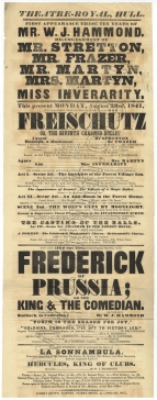Playbill for a performance of Der Freischutz  at the Theatre Royal, Hull, 23 August 1841 with Mrs Martyn as Agnes.